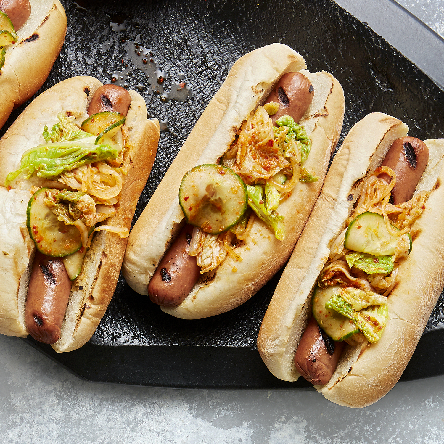hot dogs with kimchi salsa