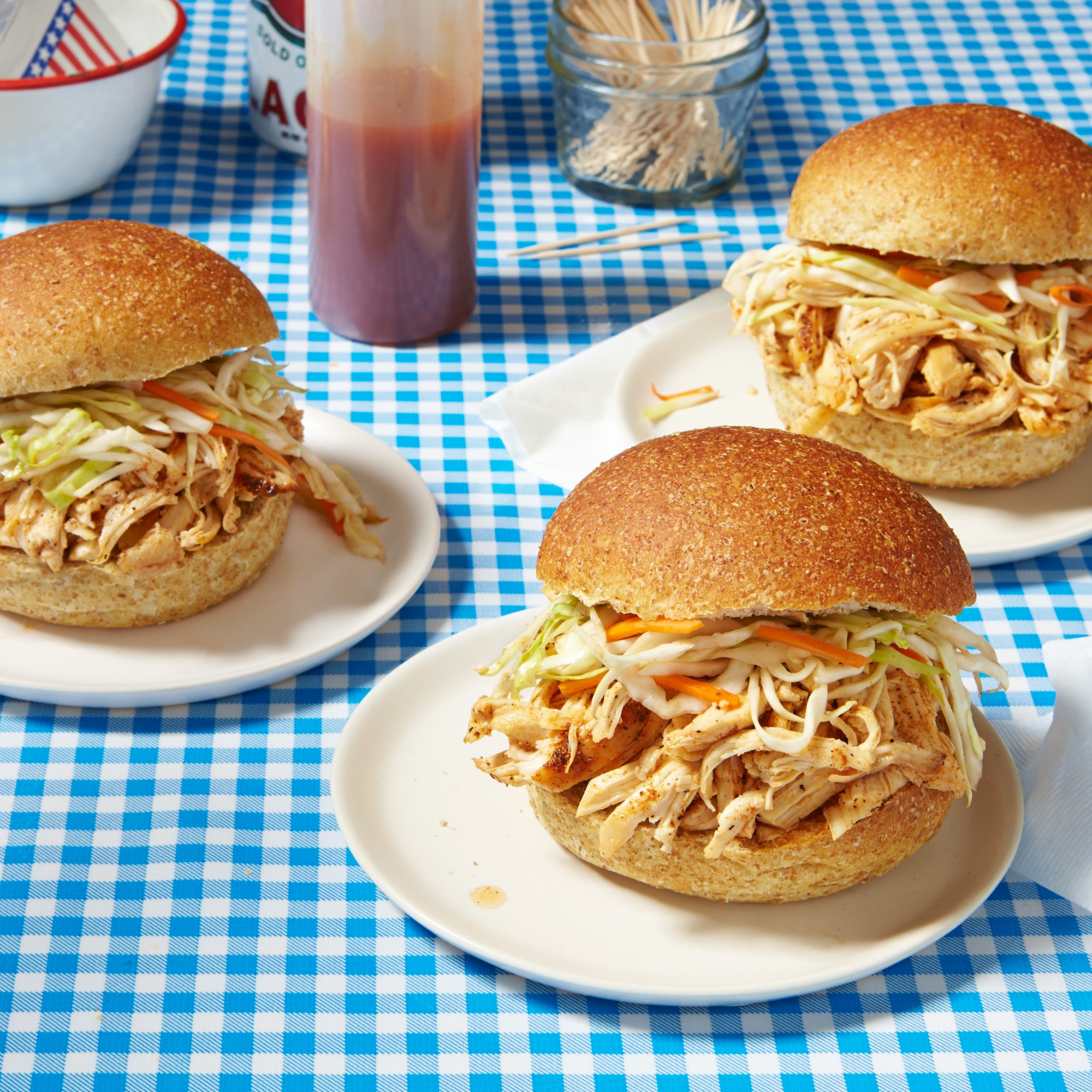Pulled Chicken Sandwich with Tangy Slaw