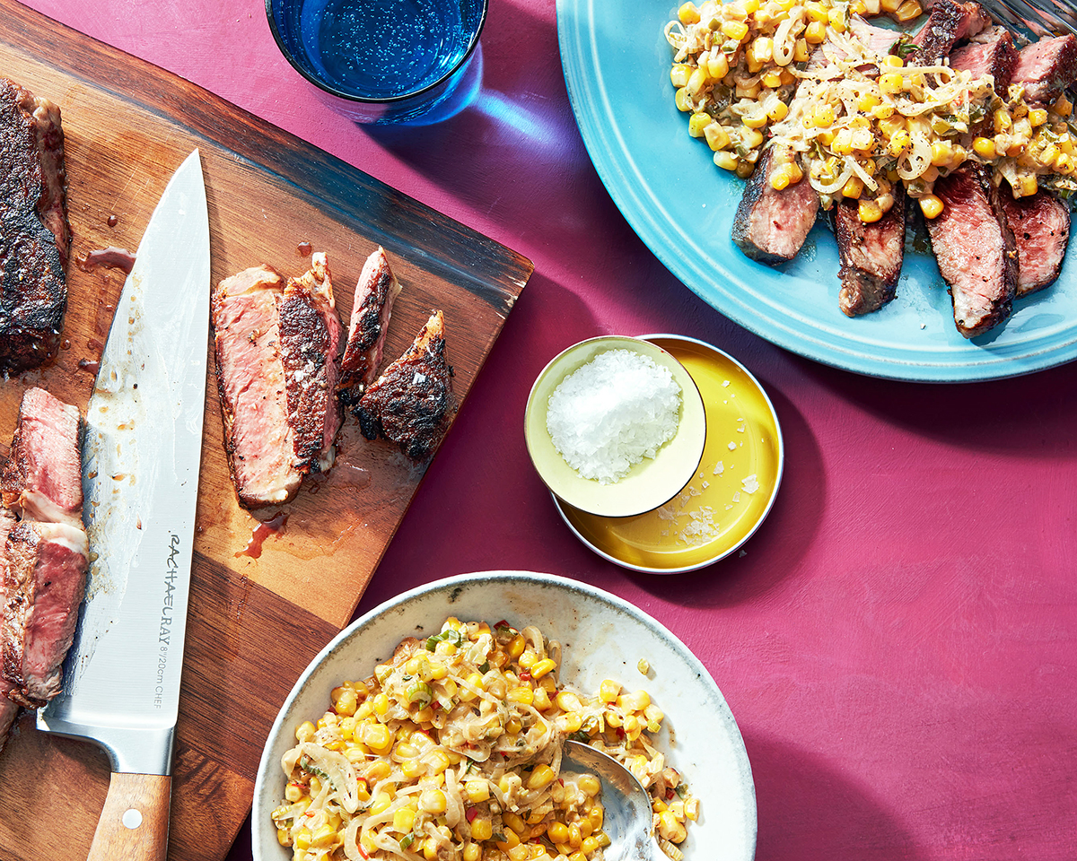 sliced steak with early summer corn spring onion maque choux