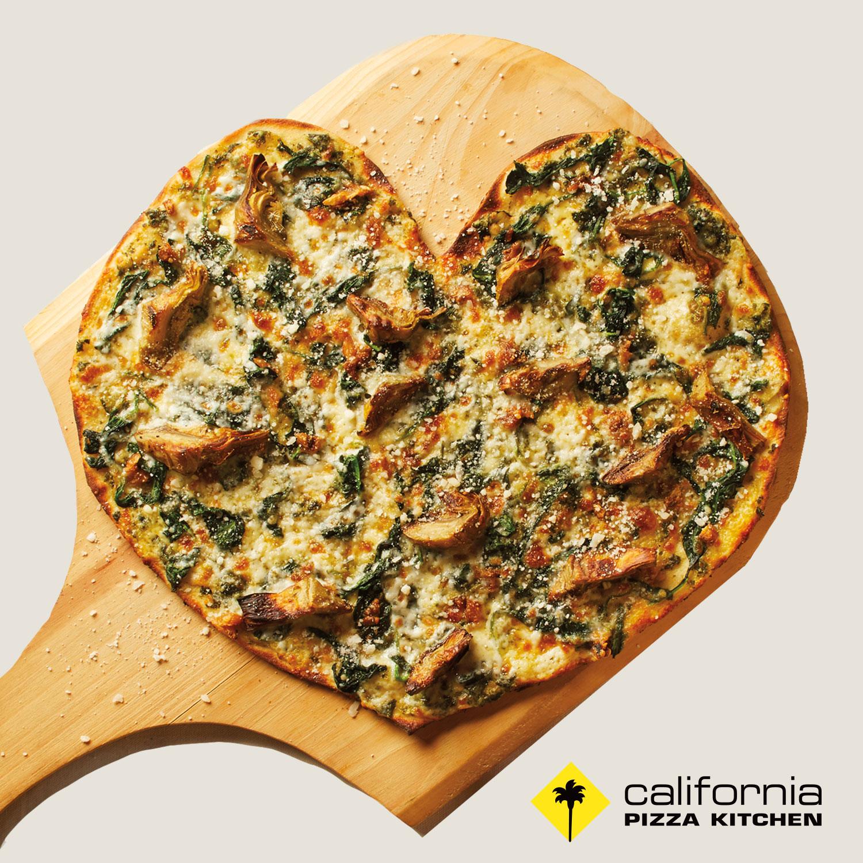 California Pizza Kitchen's Spinach + Artichoke Heart-Shaped Pizza