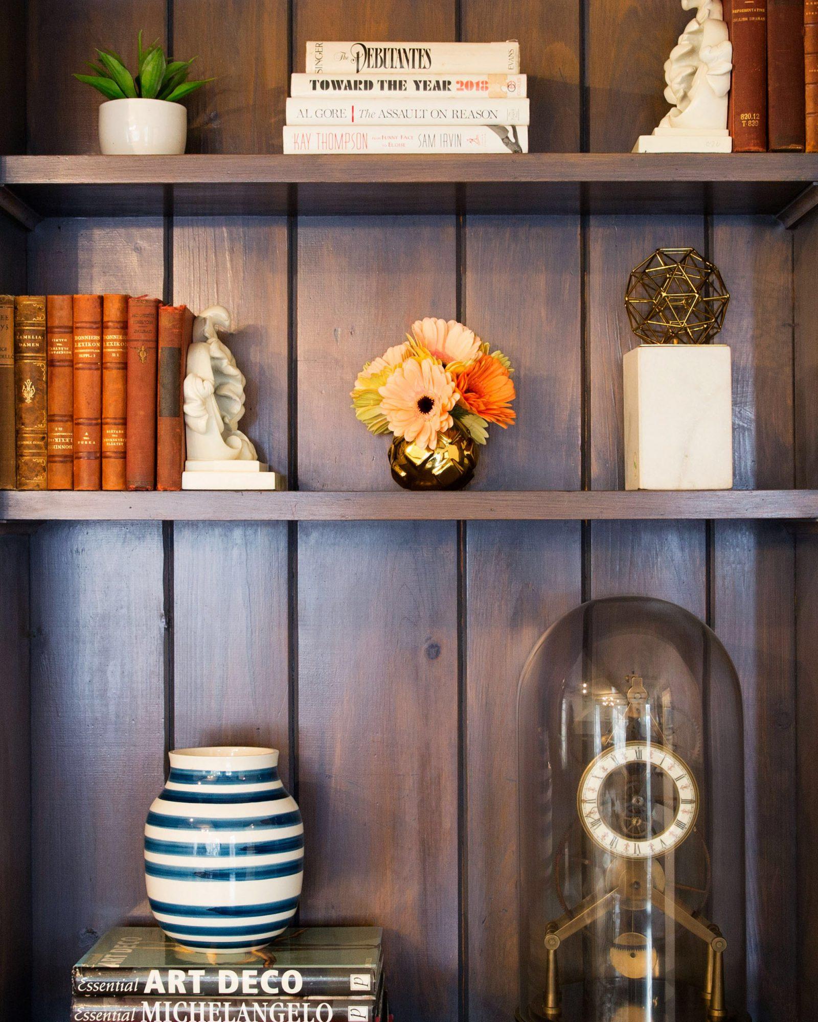 decorated bookshelf