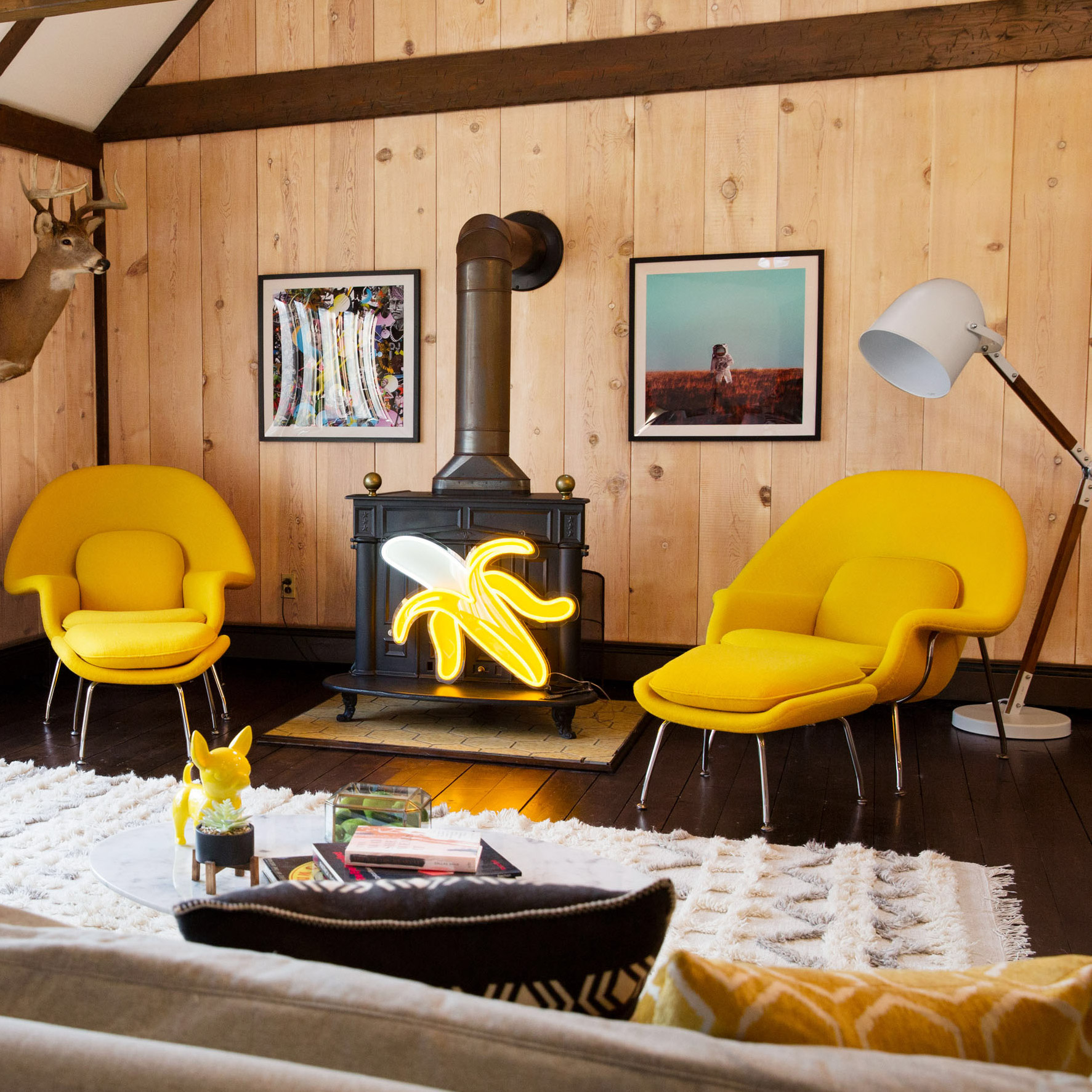 guest room living room yellow decor
