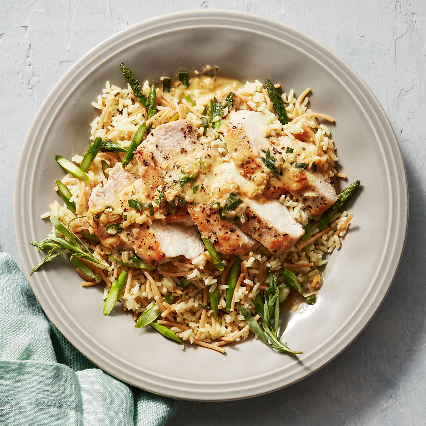 lemon-tarragon chicken with rice