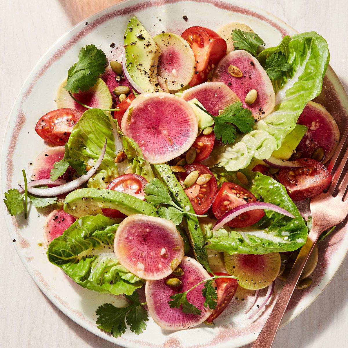 Shaved Watermelon Radish & Little Gem Salad