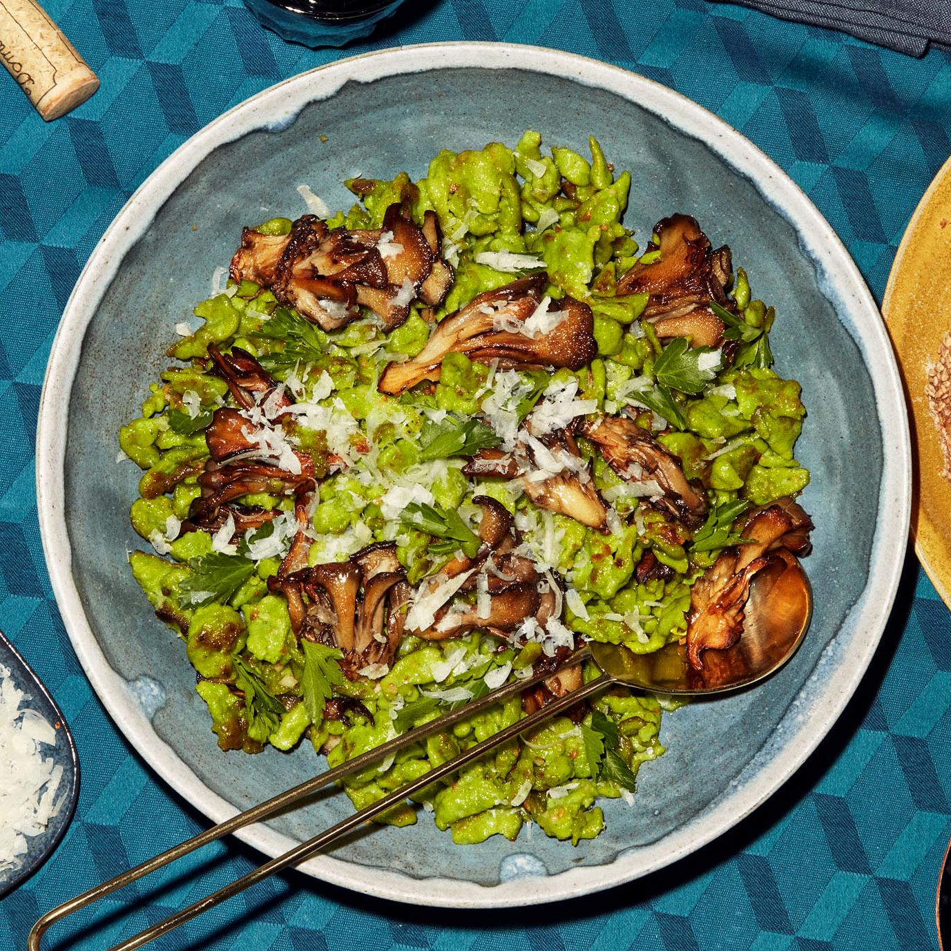 michelles parsley spaetzle with mushrooms