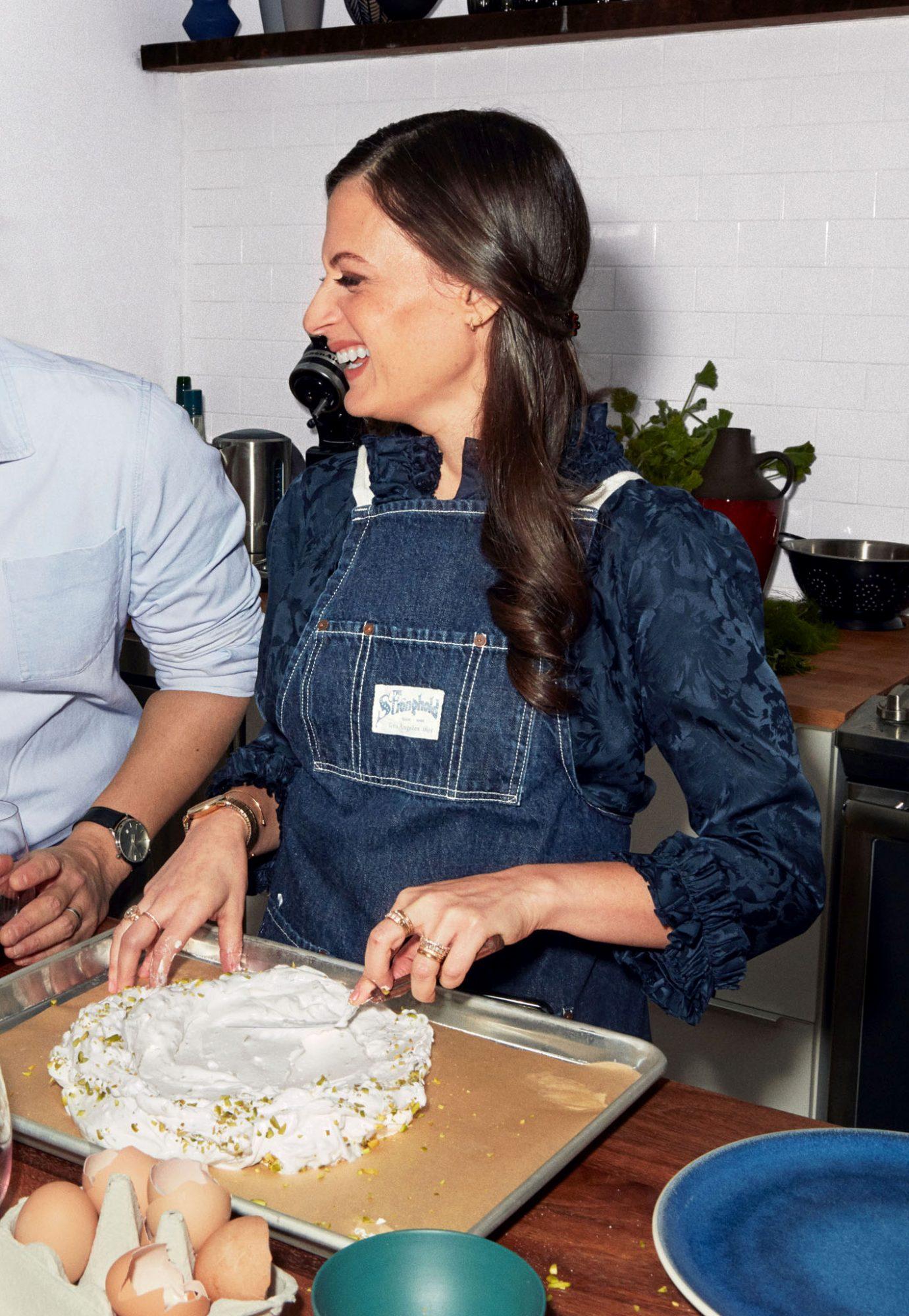 rebecca preparing pistachio pavlova