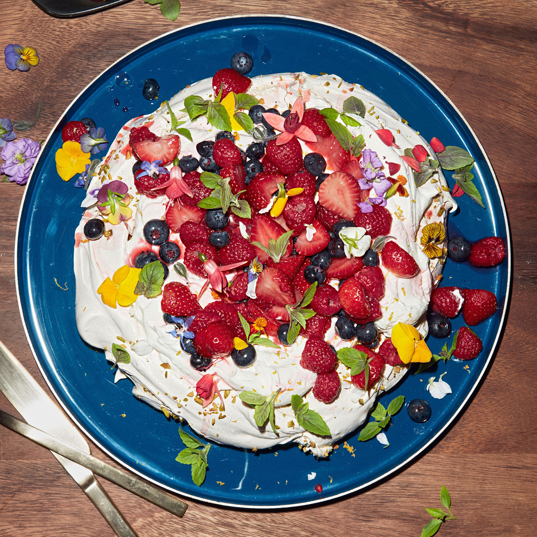 rebeccas pistachio pavlova with lemon cream and berries