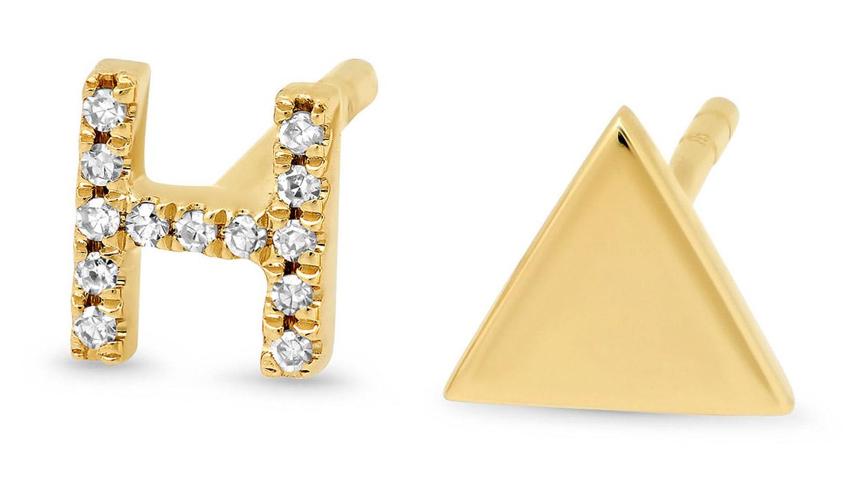 diamond stud letter earrings
