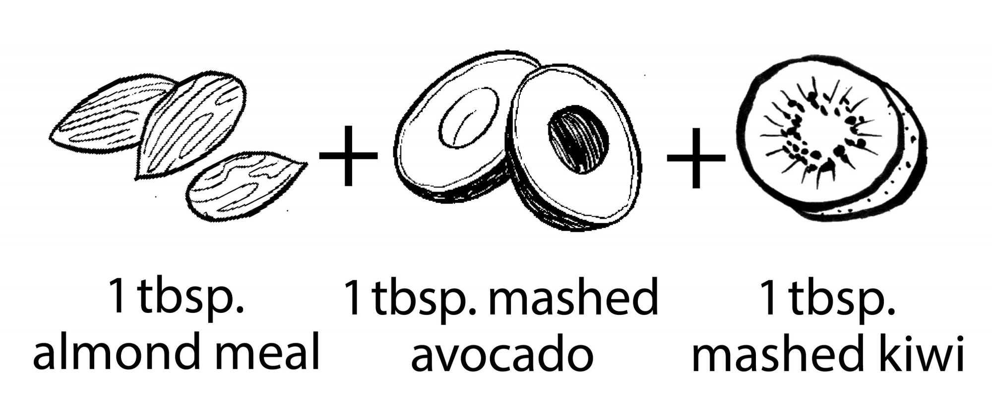 illustration of almonds avocado and kiwi