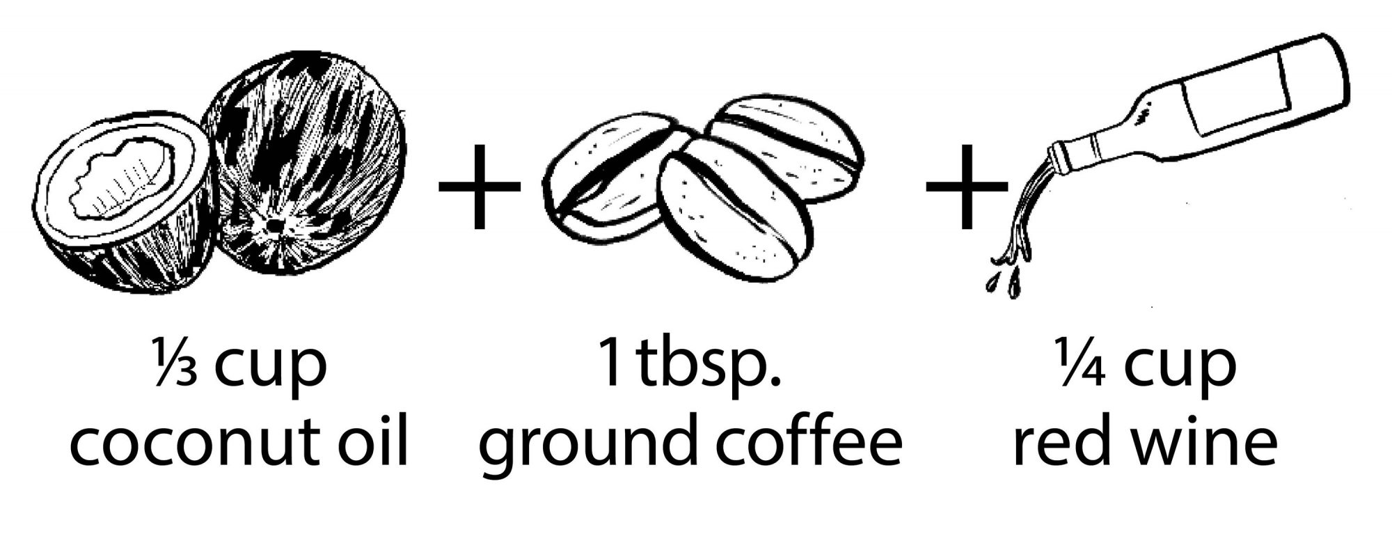 illustration of coconut oil ground coffee and red wine