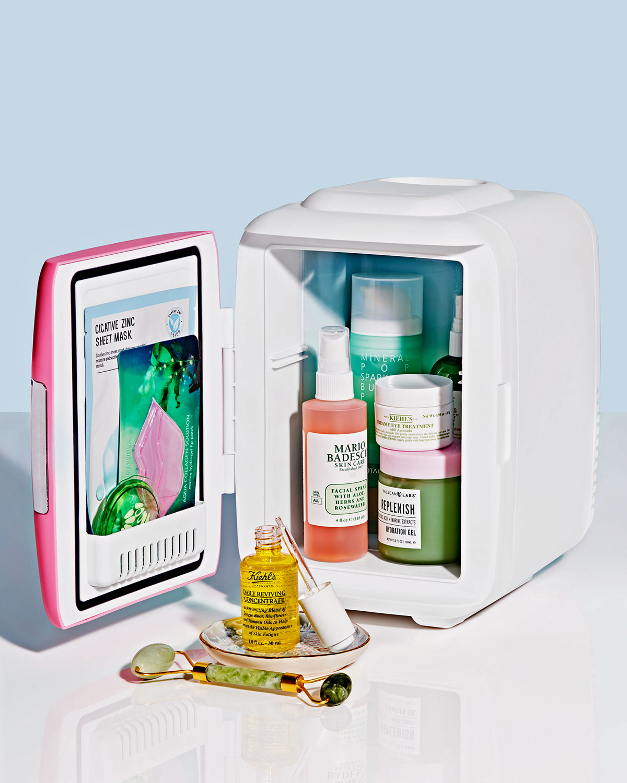 mini fridge full of beauty products