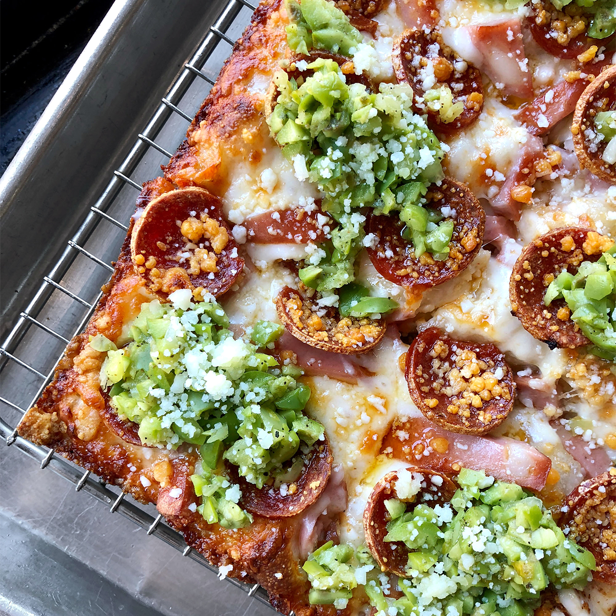 emmy squared pizza with mortadella sausage
