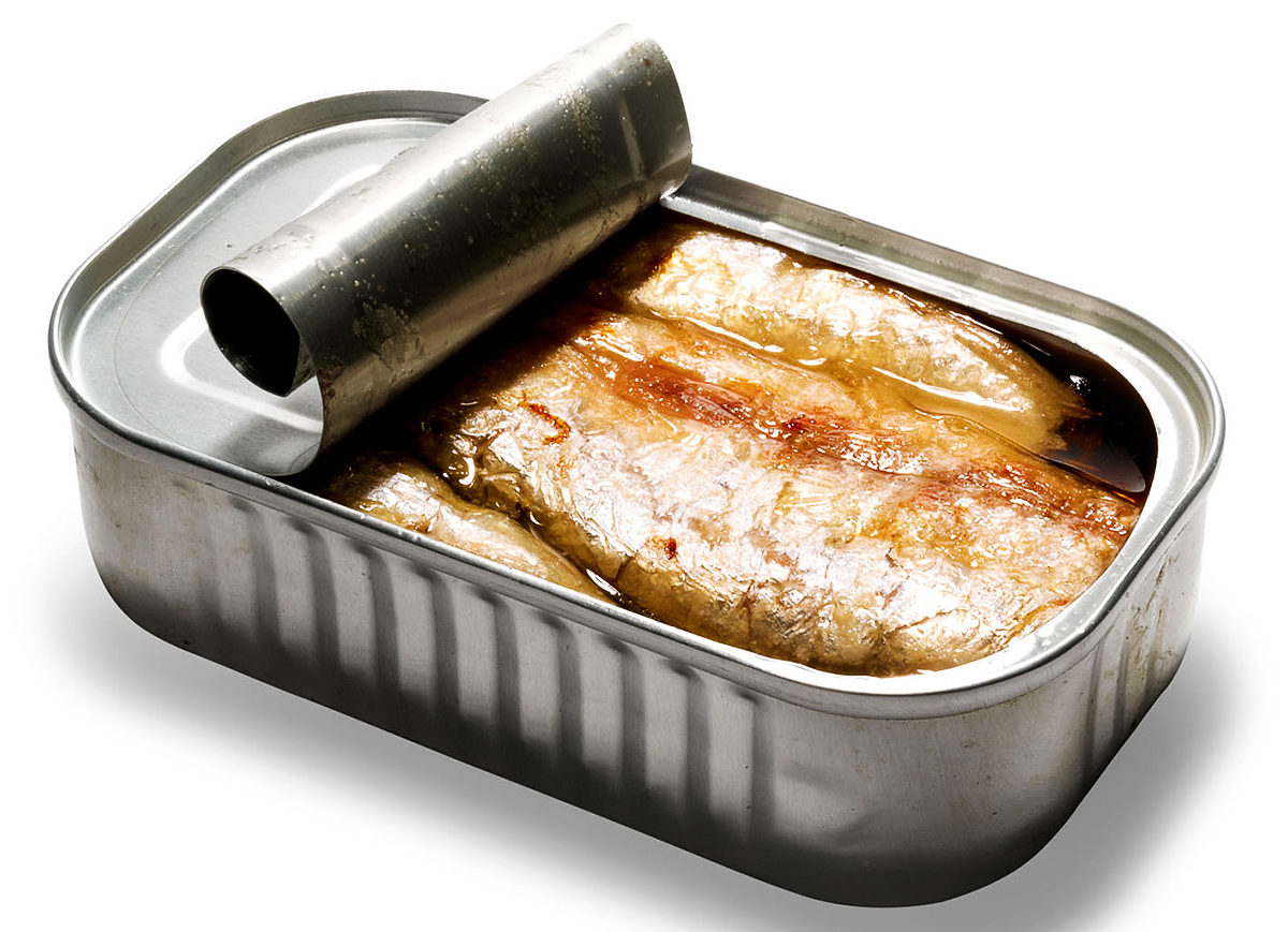 fatty fish in roll back top aluminum container