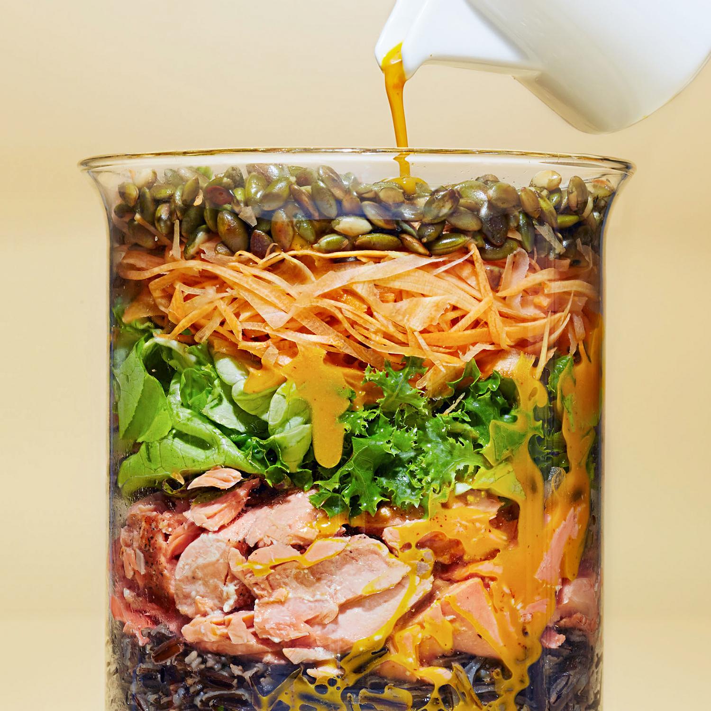 jarred homemade salad with carrot-chili vinaigrette