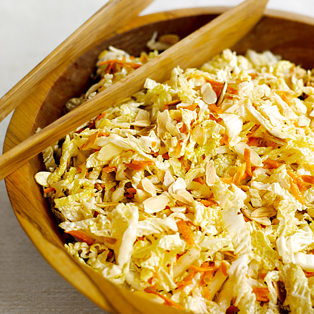 Napa Cabbage, Carrot and Almond Slaw with Honey