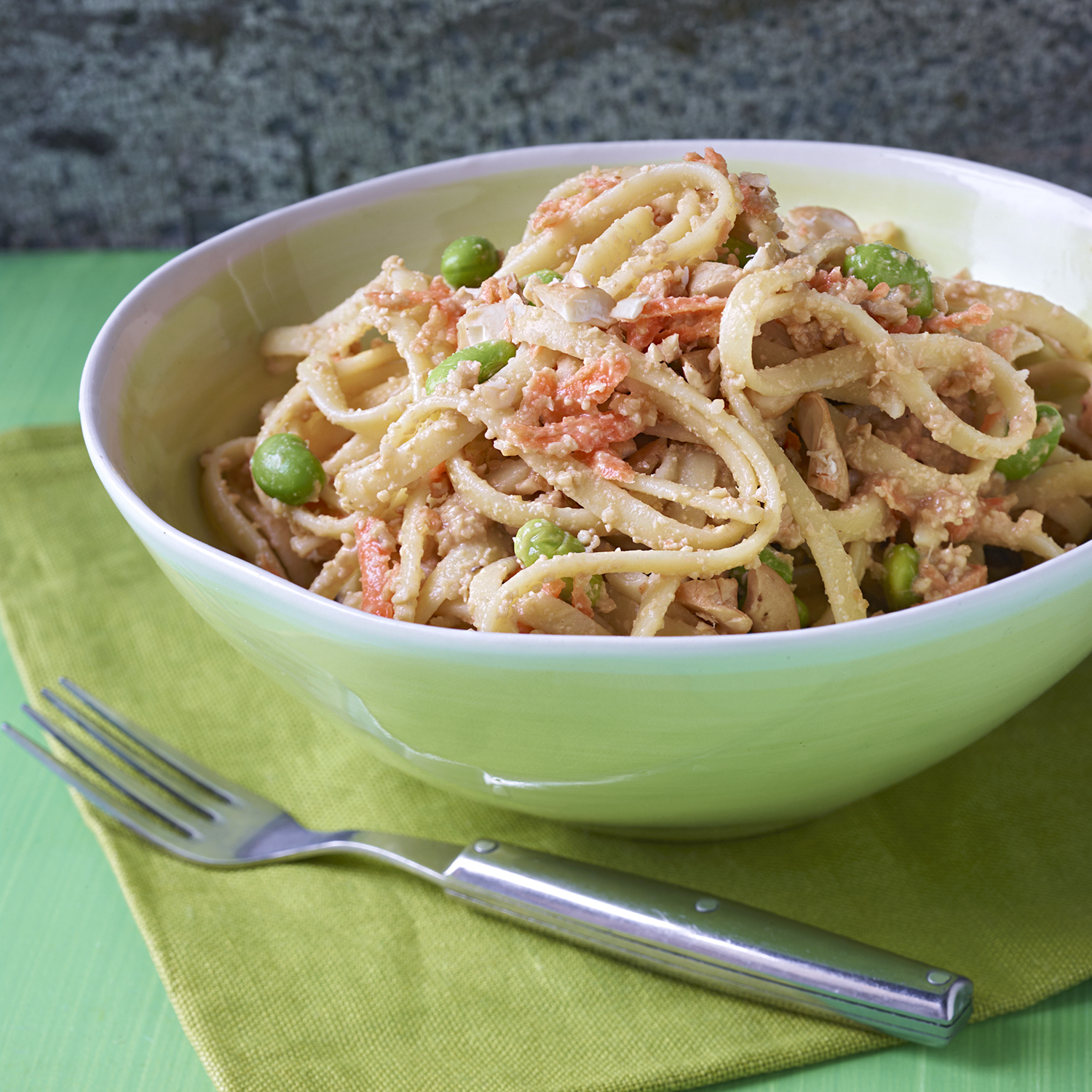 nutty asian noodles with carrots and edamame