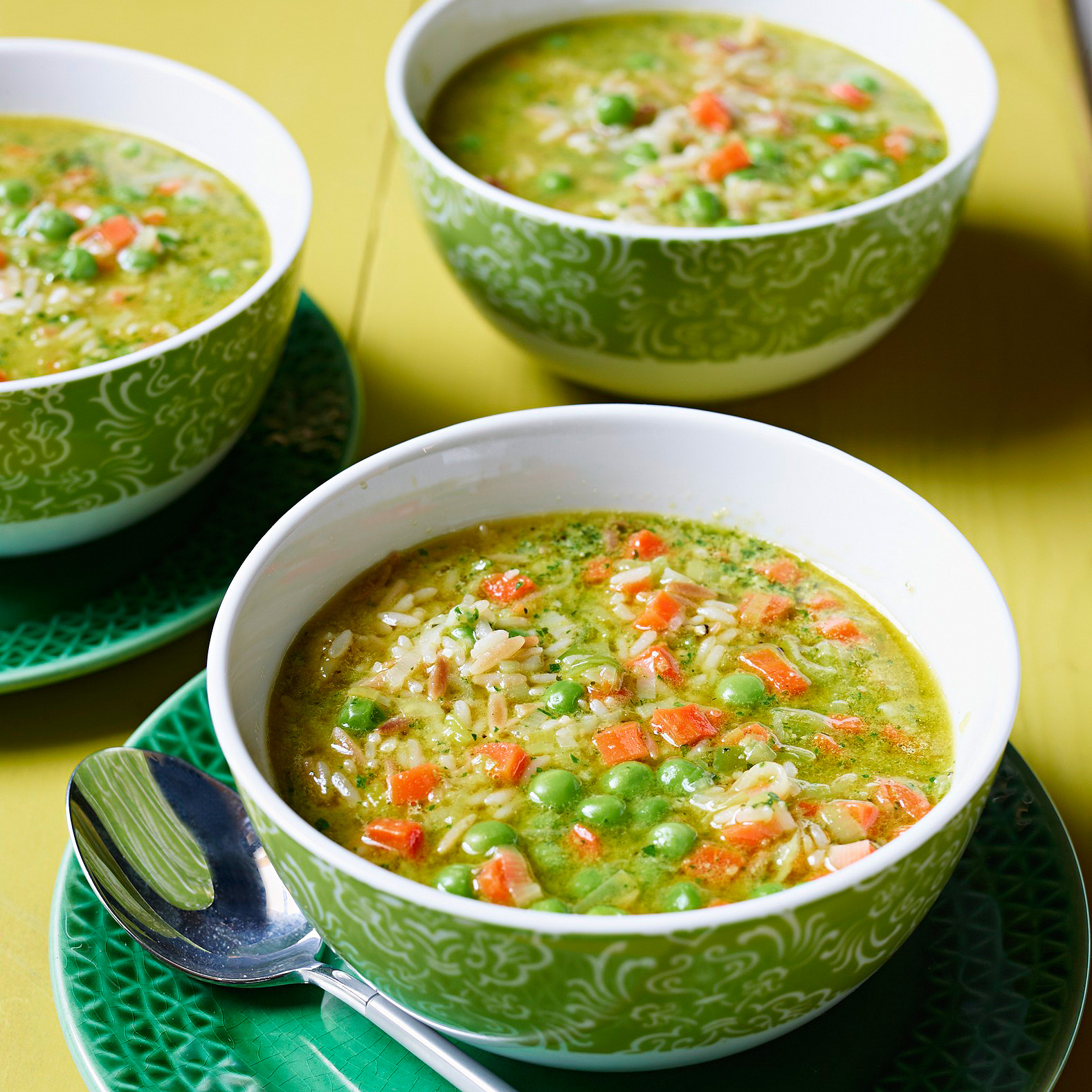 Pea & Carrot Soup with Rice