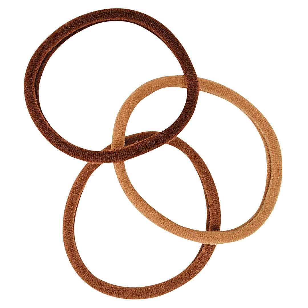 three assorted brown ponytail elastics