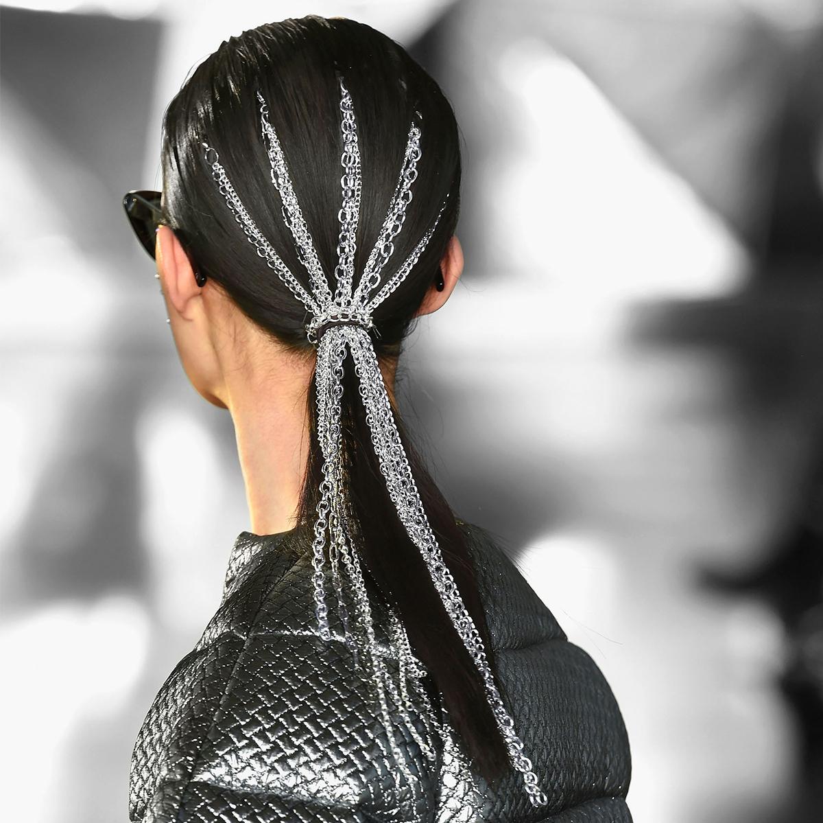 chain metal ponytail