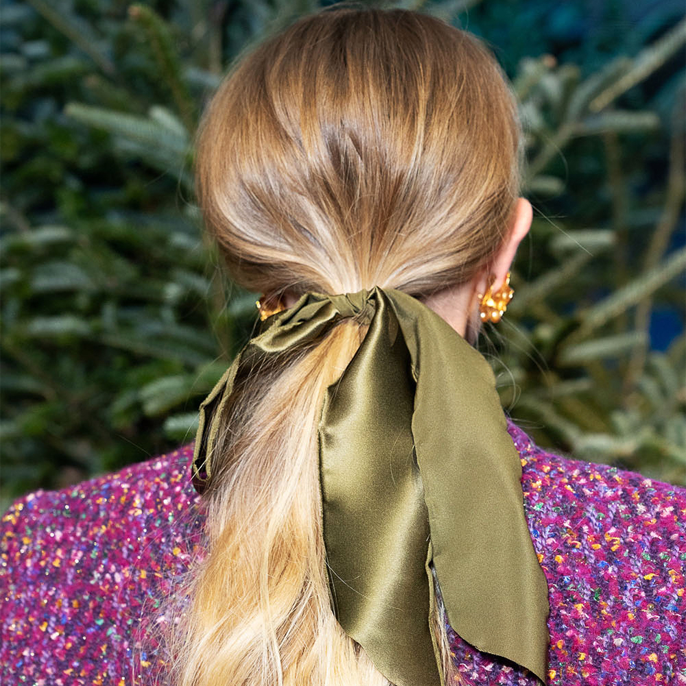 low loose ponytail with scarf