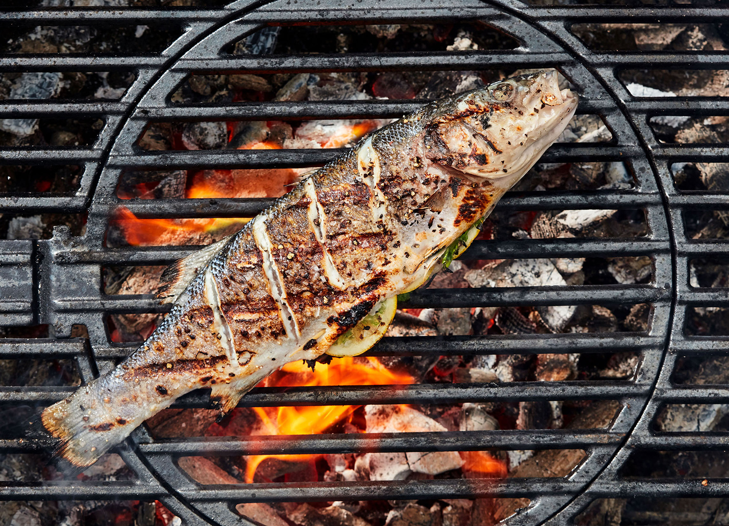whole fish on grill