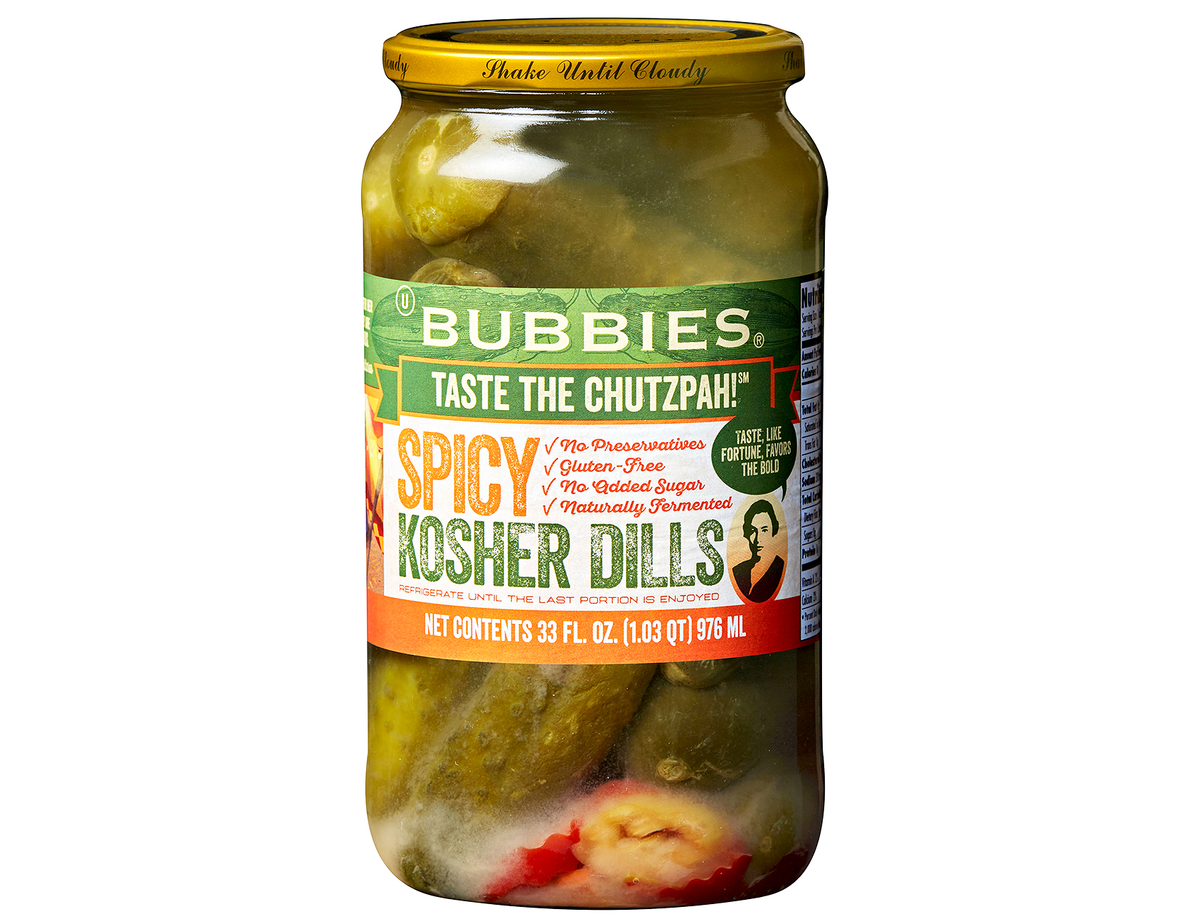 bubbies spicy kosher dill pickles jar