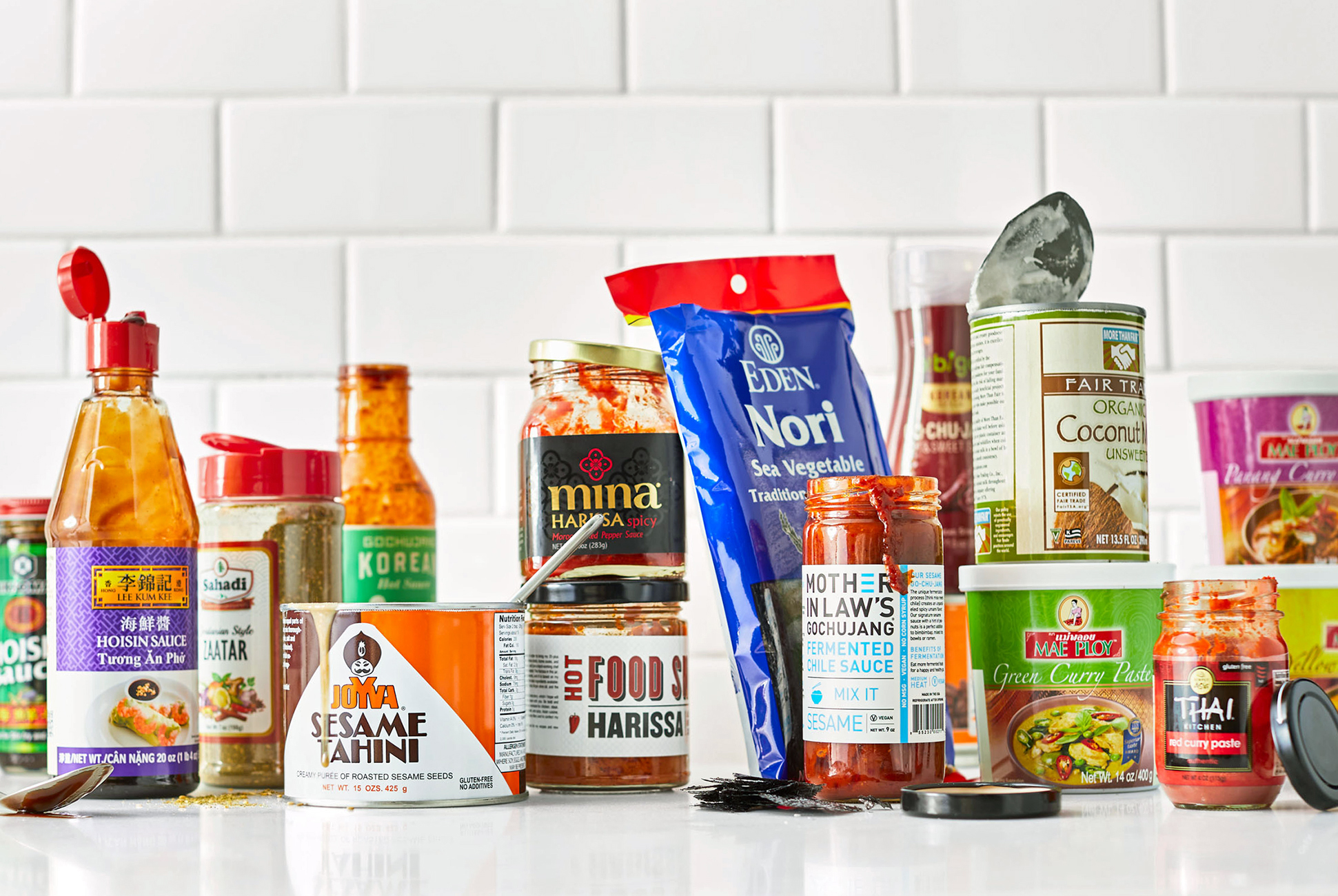 global grocery items on white counter