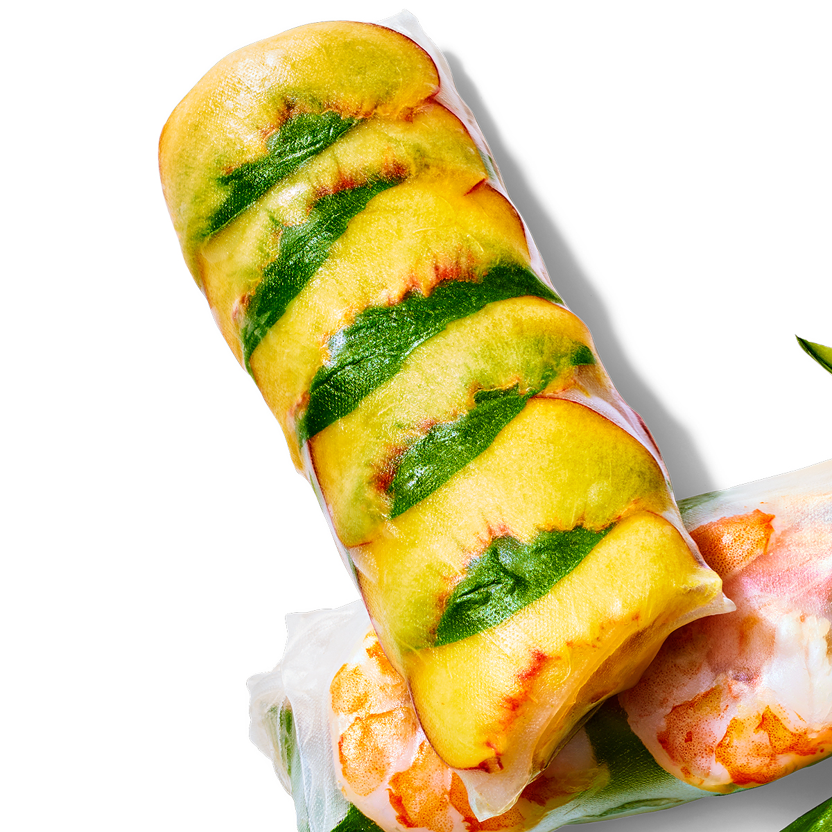 chicken and peaches summer roll