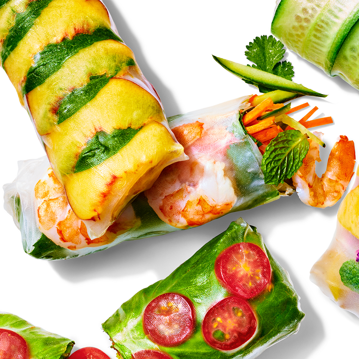 shrimp and herbs summer roll