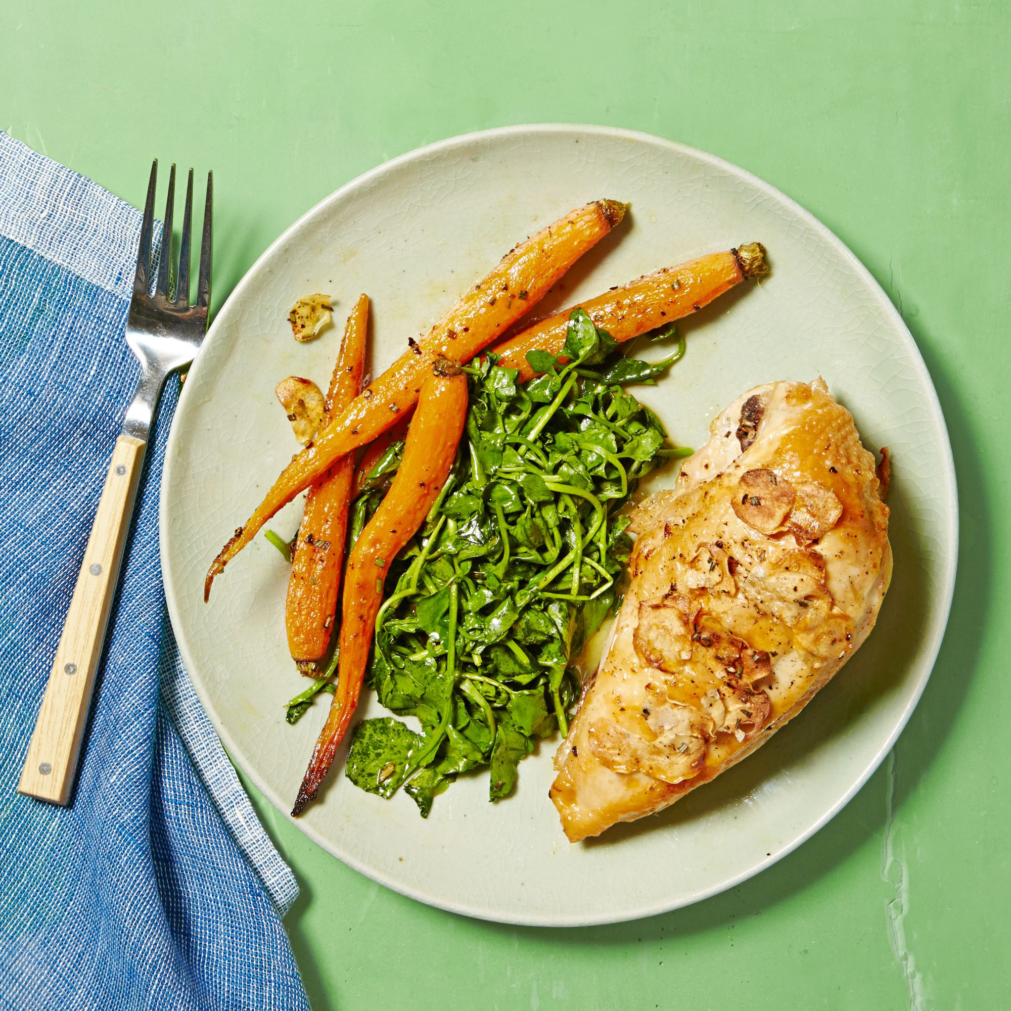 Roasted Chicken & Carrots with Wilted Watercress
