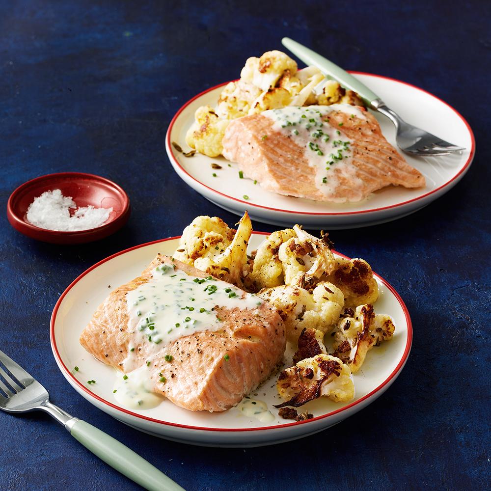 Salmon & Cauliflower with Chive Crème Fraîche