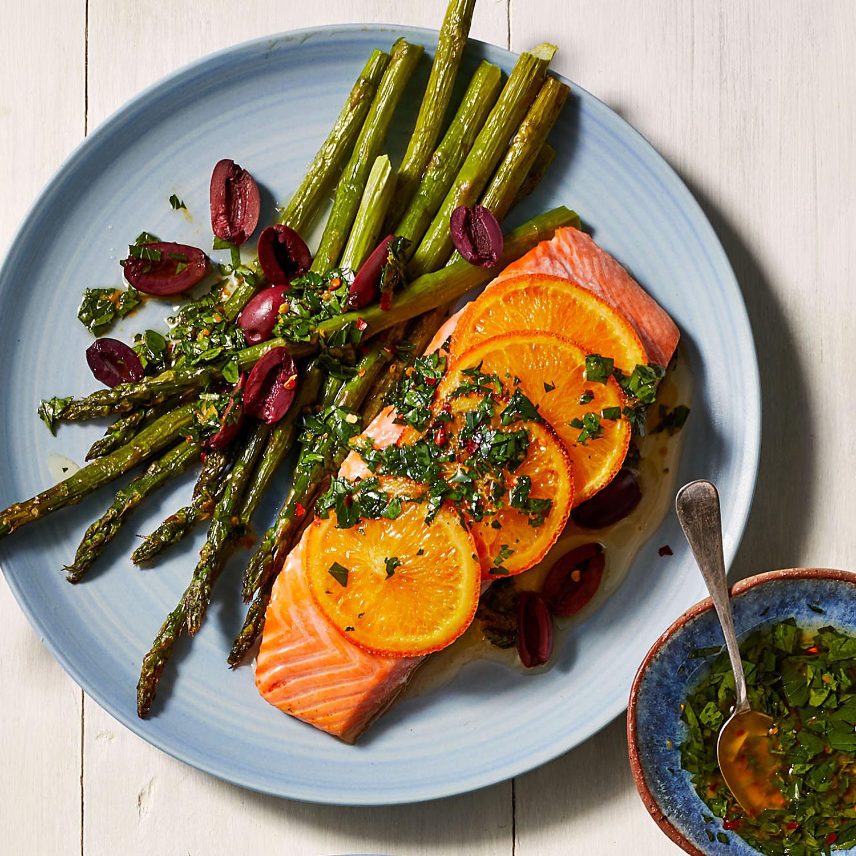 Salmon with Asparagus & Herby Umami Salsa Verde