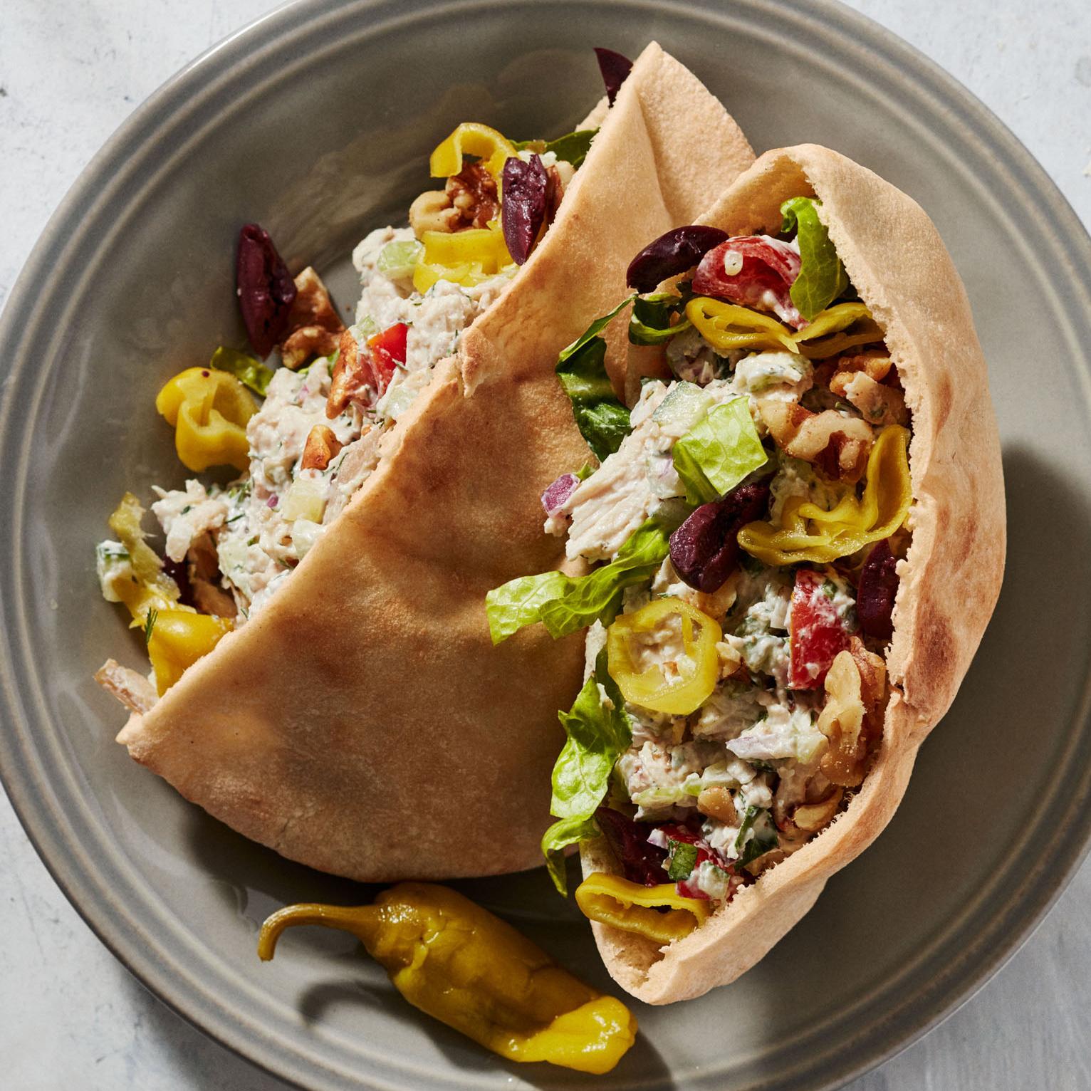 greek chicken salad with yogurt ranch dressing and feta