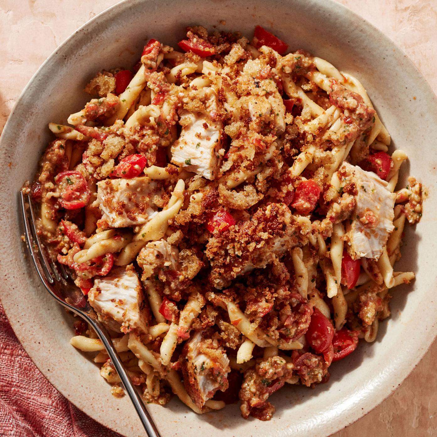 pasta trapanese sauce swordfish dinner