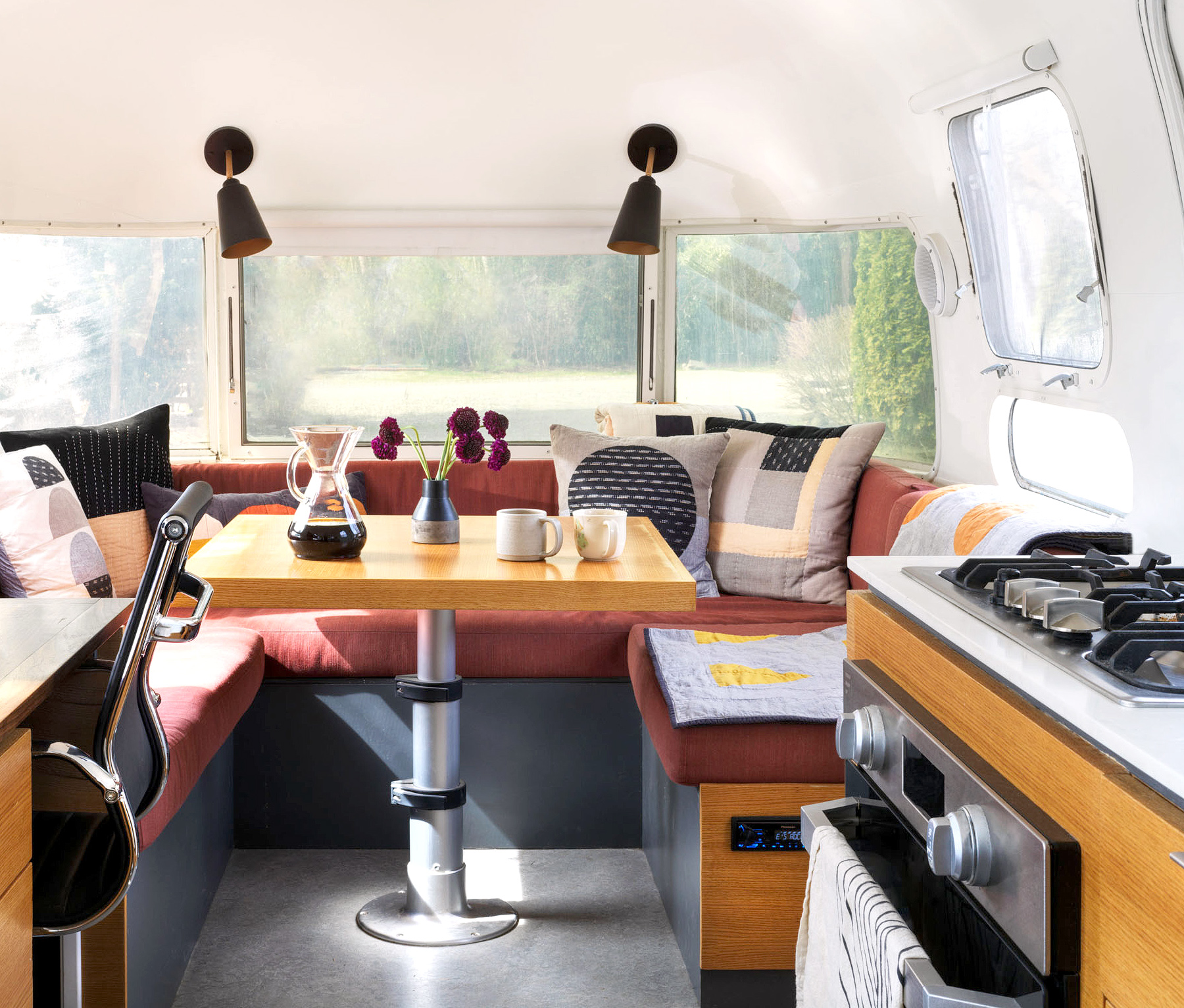 kitchen and dining room in airstream