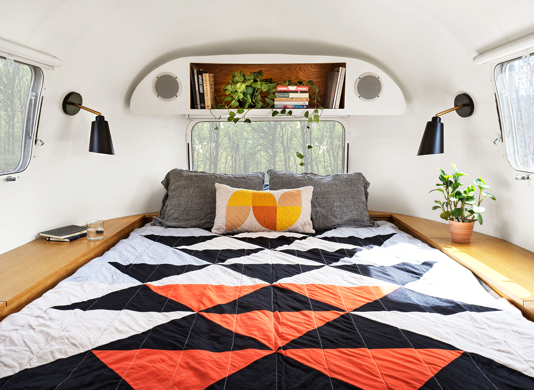airstream master bedroom with built-ins