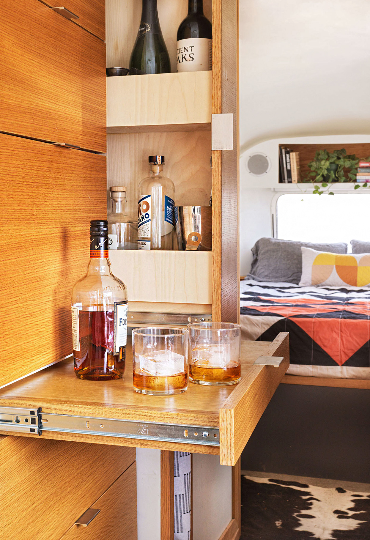 pull-out bar with drinks in airstream