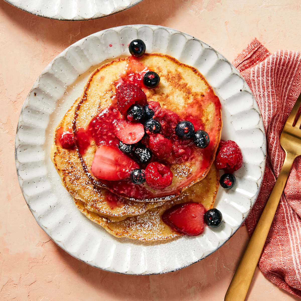 cottage cheese pancakes with berry compote