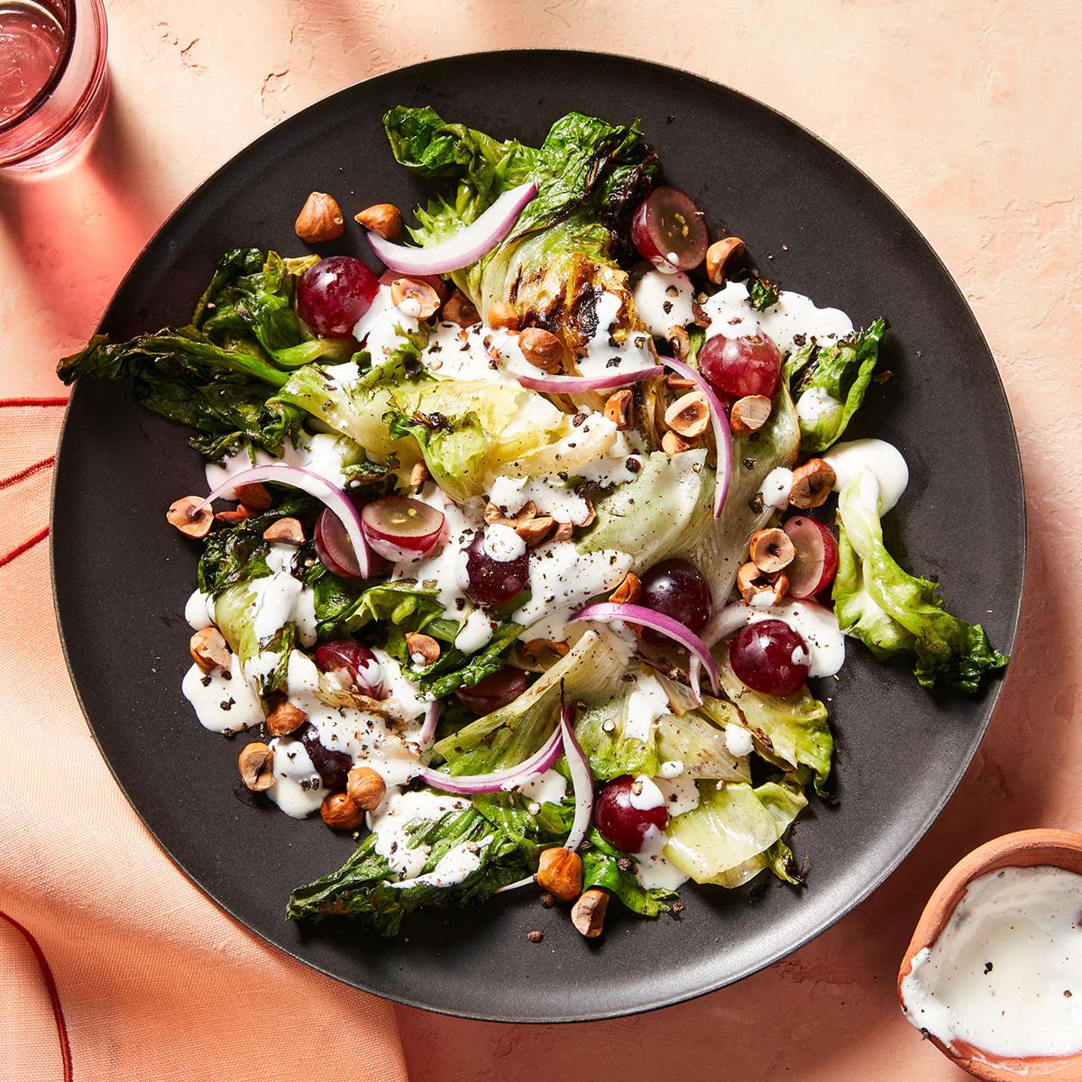 grilled escarole salad with black pepper parmesan dressing