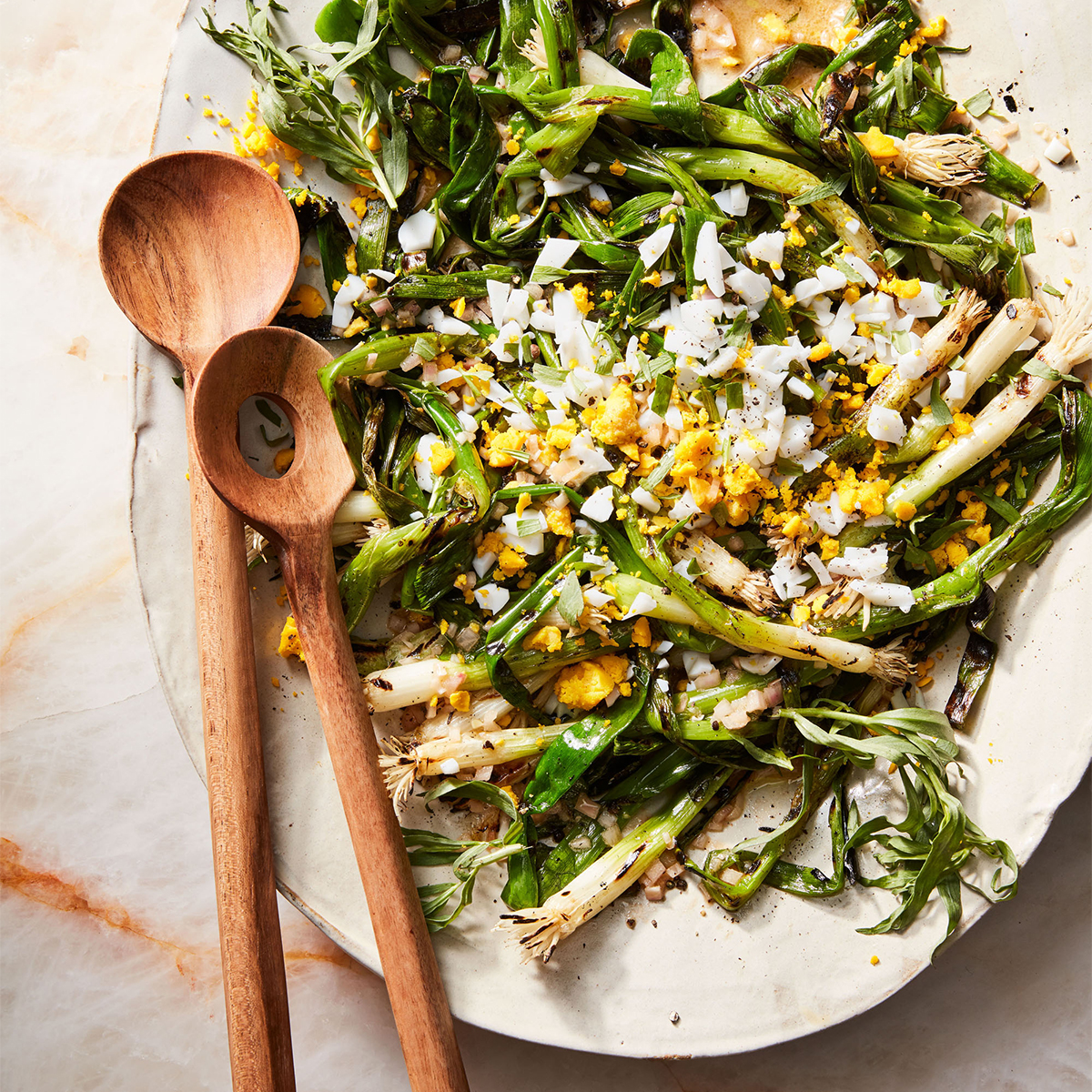 grilled scallions with hard boiled egg