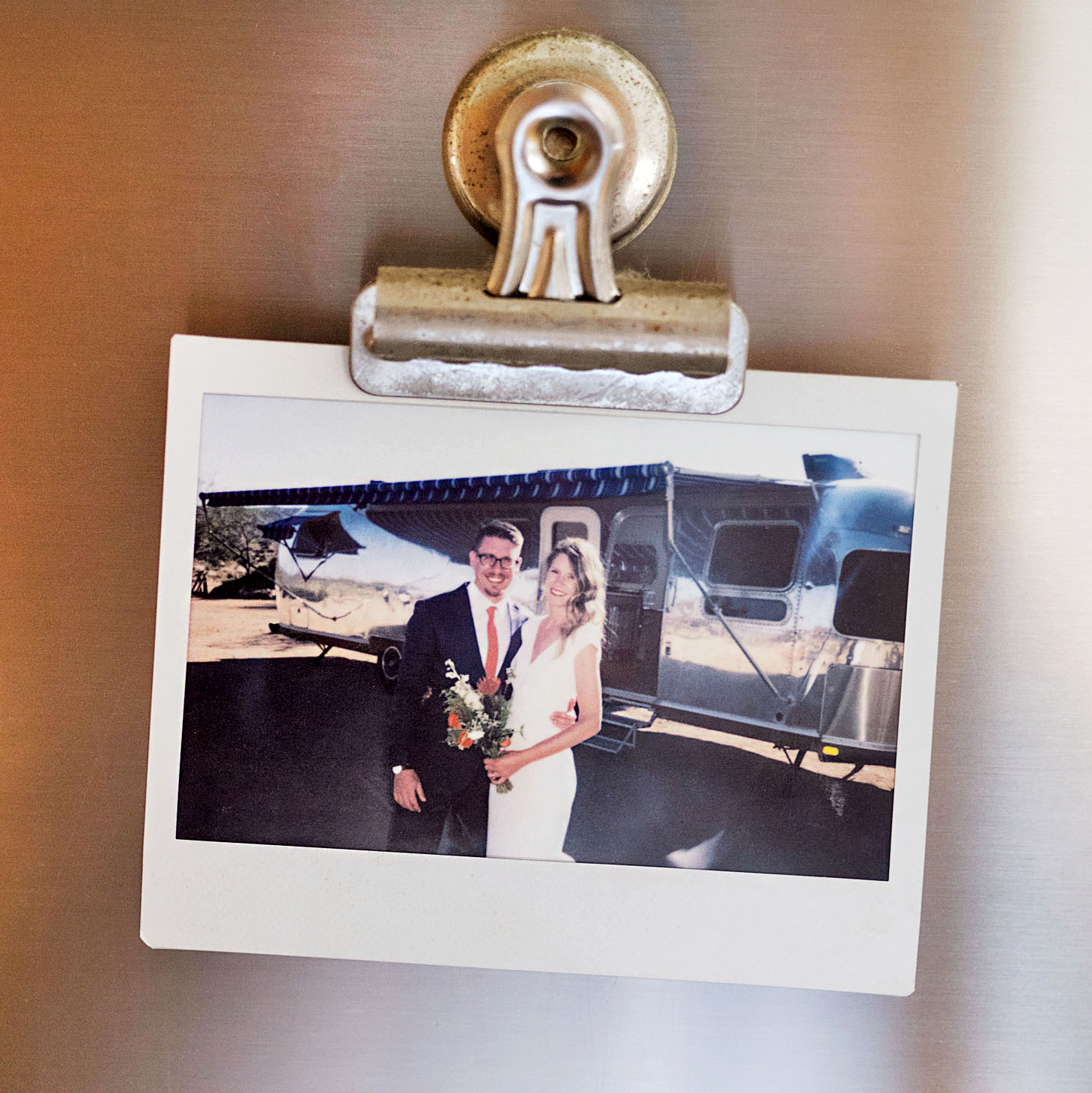 airstream wedding polaroid hanging from clip