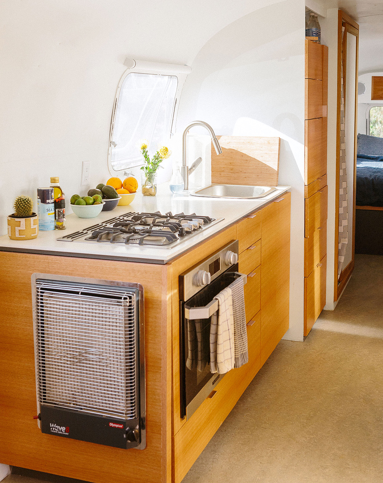 red oak wood kitchen in airstream trailer