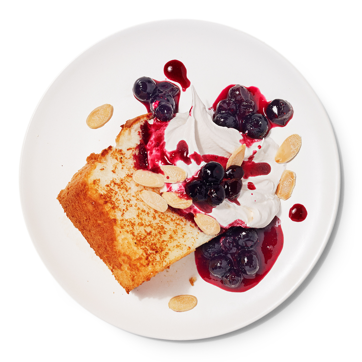 blueberry angel cakes with bourbon whipped cream