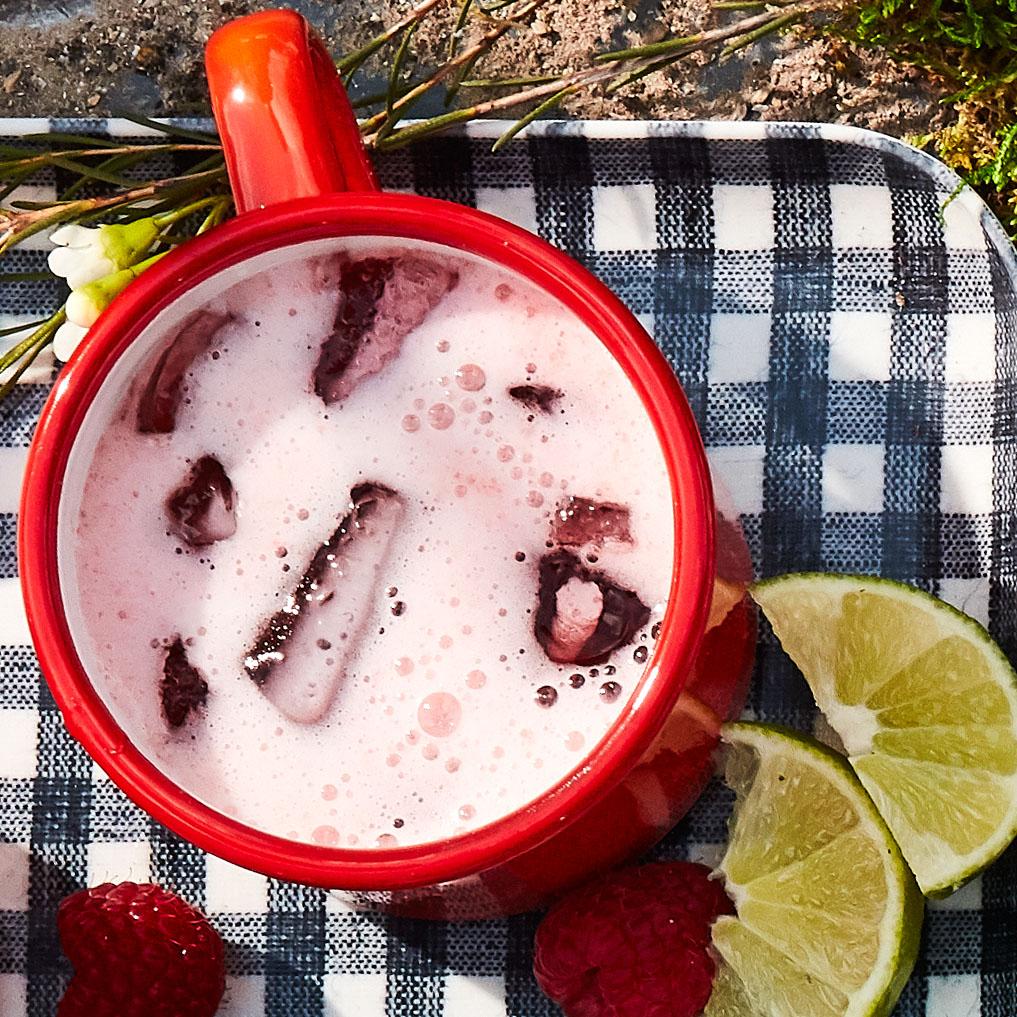 campari raspberry radler served in a red mug