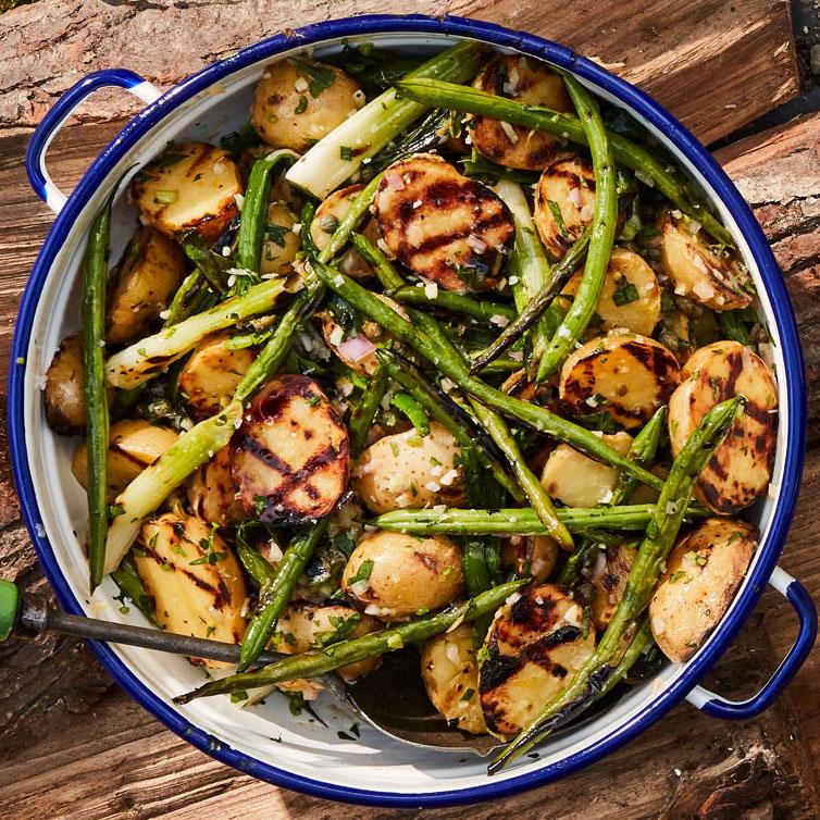 smoked potato salad with green beans