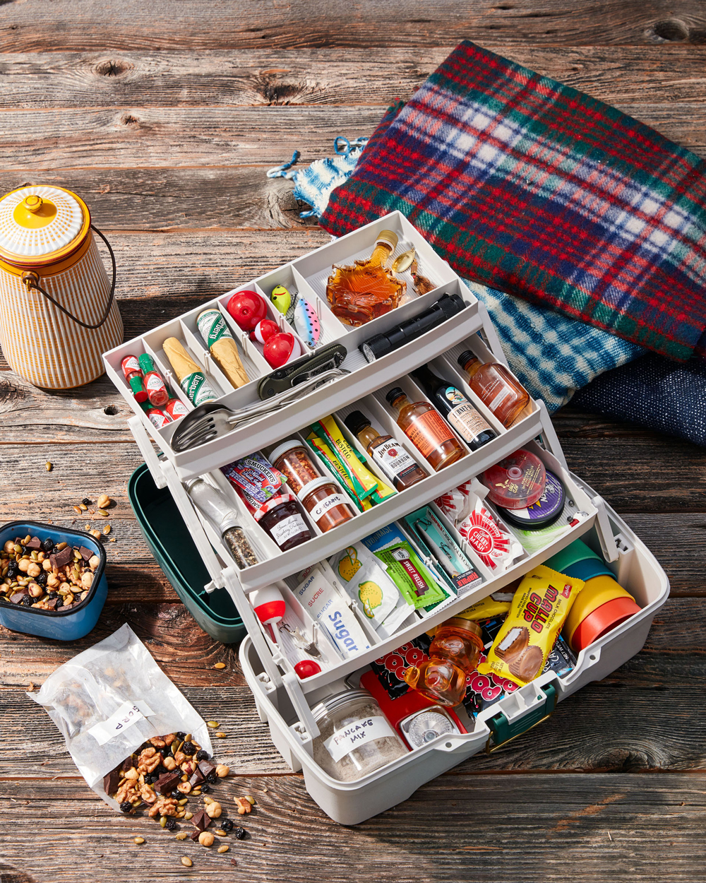 tackle box pantry on picnic table