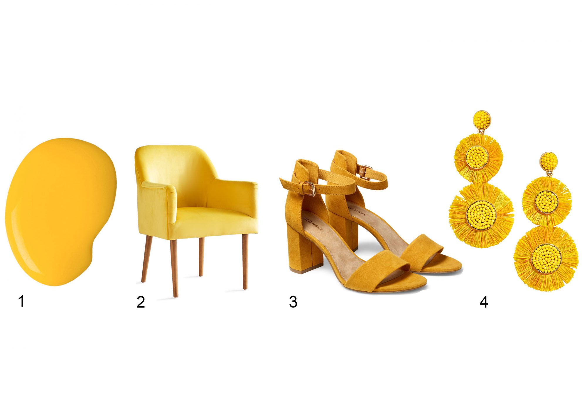 gen z yellow paint chair shoes and earrings
