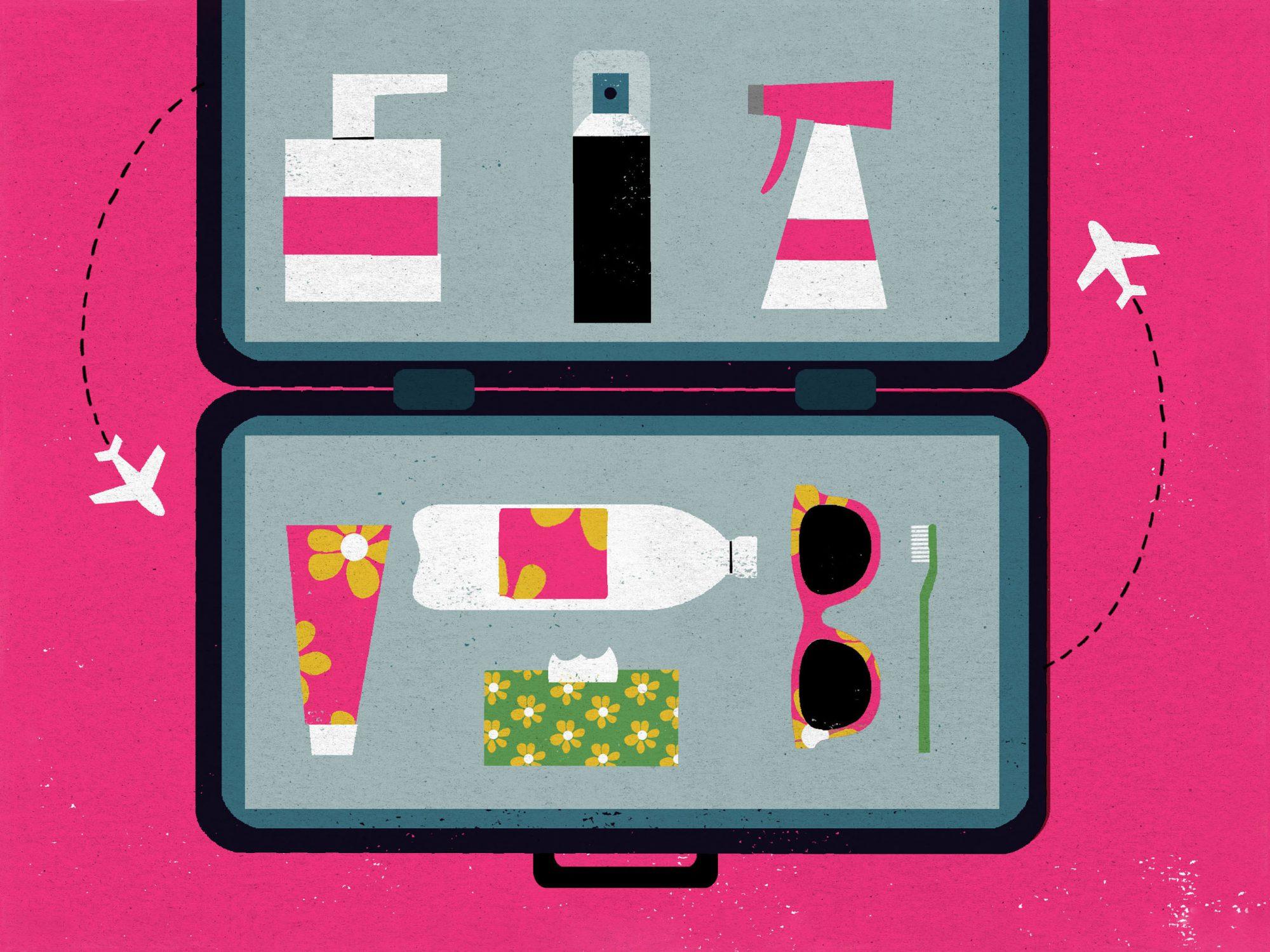 illustration of open suitcase