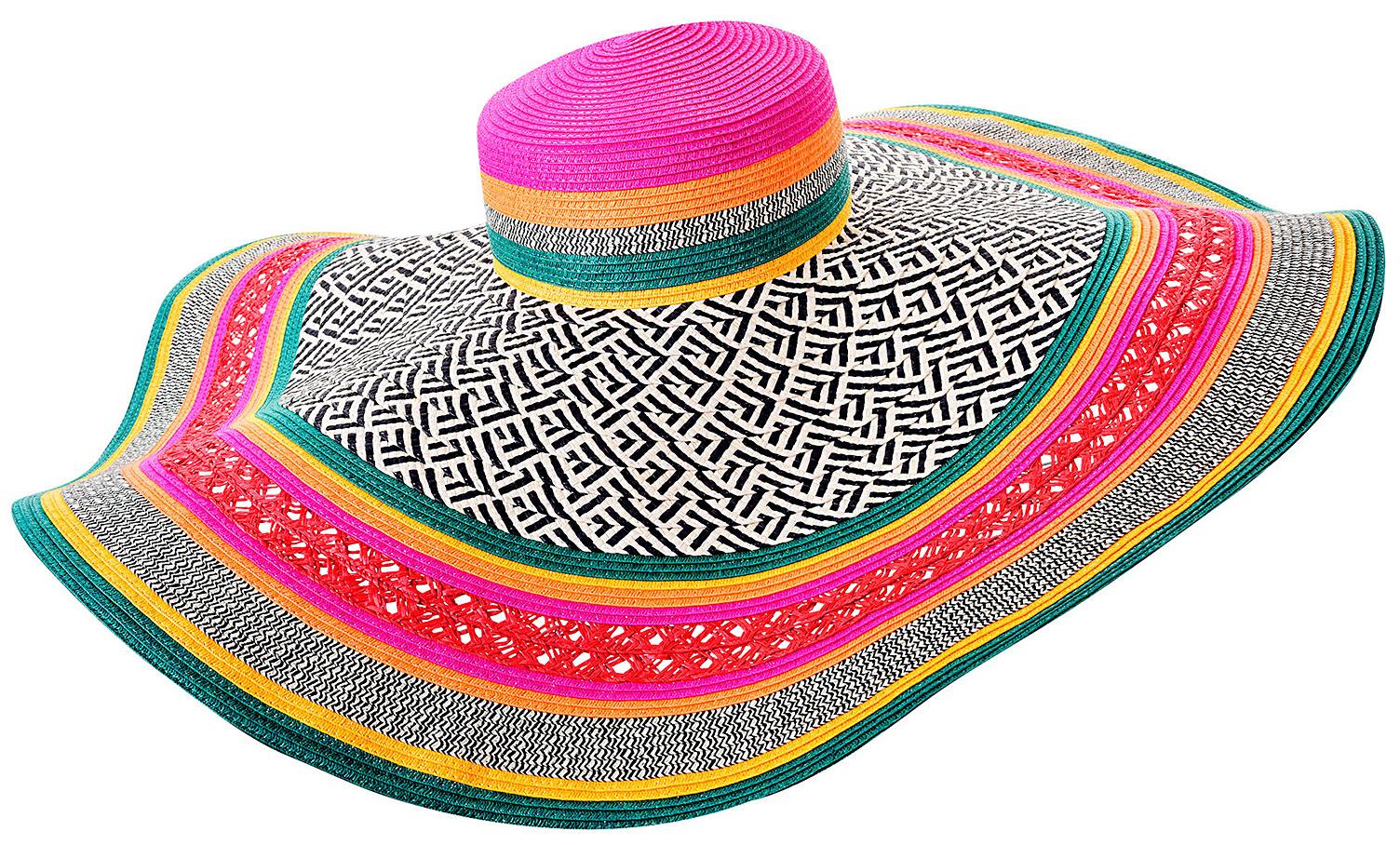 Topshop neon Multi Straw Floppy Hat