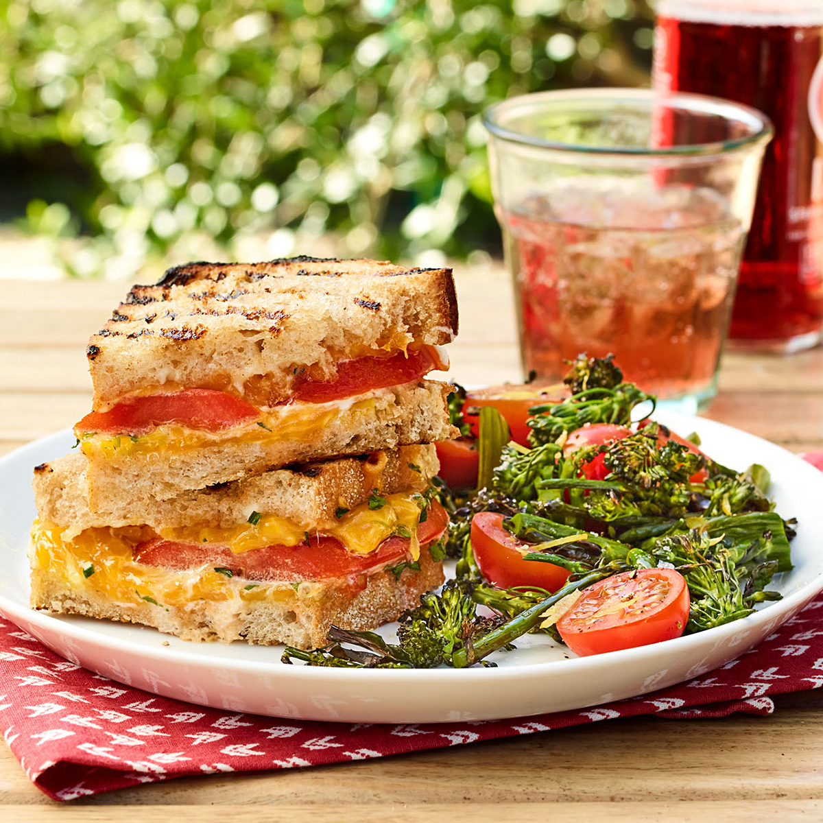 Grilled Cheese Sandwiches with Charred Broccolini Salad